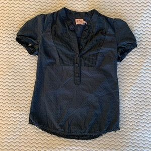 Juicy Couture Navy Blue Button Blouse Size 4